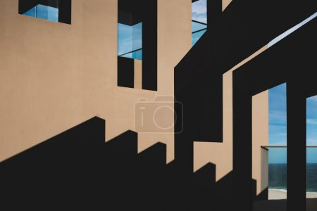 Beautiful Abstract photo of light and shadow contrast on an ocean view terrace