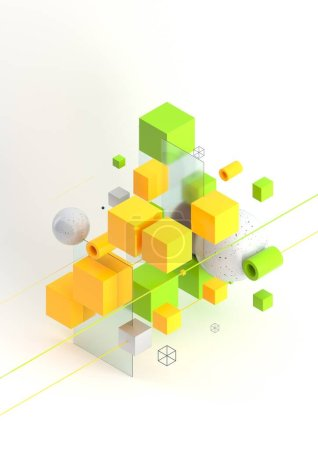 Abstract 3d render visualization background, template modern composition of geometric shapes in isometric . Cube, sphere, cylinder, line.