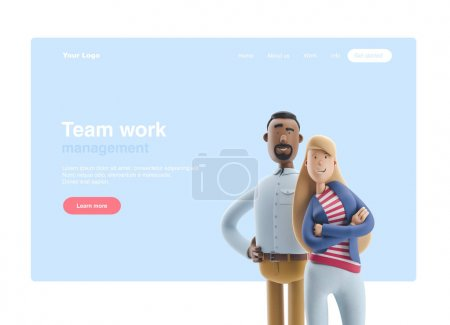 3d 插图。商人斯坦利和艾玛站在蓝色背景上。网页横幅、起始网站页面、信息图、团队合作理念.