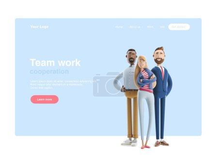 3d 插图。一群快乐的商务人士站在蓝色背景上。斯坦利,艾玛和比利网页横幅、起始网站页面、信息图、团队合作理念.
