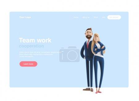 3d 插图。商业情侣艾玛和比利站在蓝色背景上。网页横幅、起始网站页面、信息图、团队合作理念.