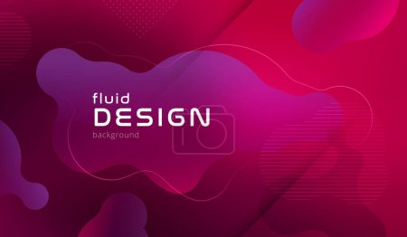 Colorful pink geometric background pattern. Fluid shapes composition with trendy gradients.