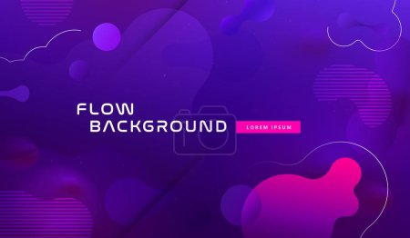 Gradient fluid background design layout for banner or poster. Cool 3d liquid vector pattern with blue violet shape in motion