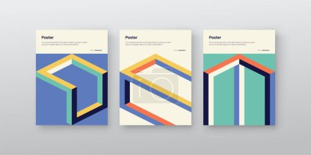 Postmodern graphic design of A4 size vector cover mockup set in modernism and minimalistic brutalism style, useful for poster art, magazine front page, decorative print, web banner artwork.