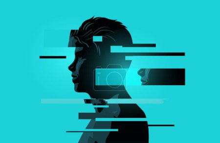 Image Of a Man With Glitch Fragments.Mental health issues. Anxiety, mindfulness and awareness concept. Vector illustration.