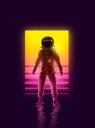 An astronaut spaceman backlit by neon lights. Space exploration vector illustration.