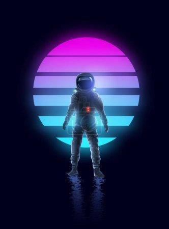 Retro Neon Glowing Astronaut