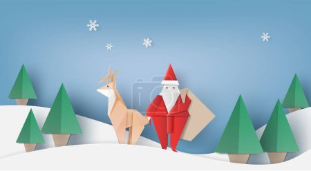 圣诞老人的折纸是携带一个礼物袋, 驯鹿和圣诞树, 矢量插图纸的艺术风格.