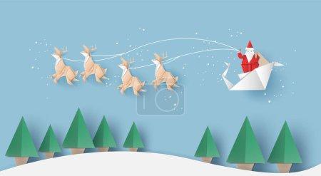 折纸的圣条款是携带一个礼物袋,驯鹿和圣诞树,矢量插图纸艺术风格.