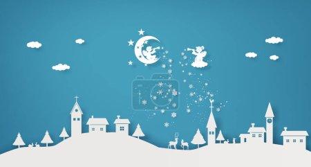 圣诞节假期, 天空中的天使在村子里大肆宣扬.