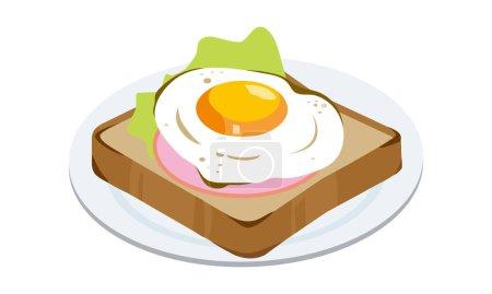 Ham egg toast on a plate