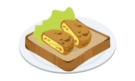 Croquette and lettuce toast on a plate