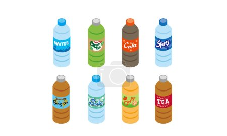 Illustration set of plastic bottle beverages