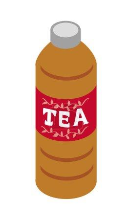 Illustration of tea in a plastic bottle of beverage