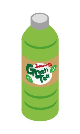 Illustration of Japanese green tea for plastic bottle beverage