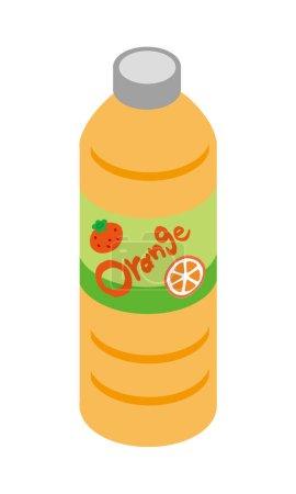 Illustration of orange juice in plastic bottle beverage