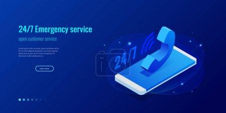 呼叫中心支持24-7 的网页设计模板。等距24小时开放客户服务。矢量插画客户服务、支持或 Crm_高清图片_邑石网