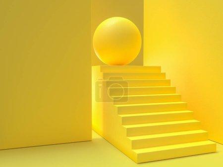 最小的概念。黄色楼梯背景, 3d 渲染.
