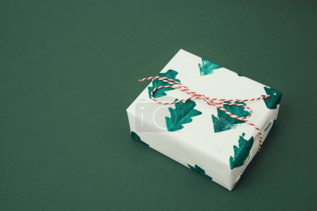 Gift box in Christmas handmade. Noel concept creative.