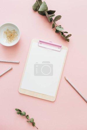 平躺家庭办公办公桌工作区与剪贴板和桉树分支在淡粉色粉红色背景。最小的博客模拟与视图从上面.