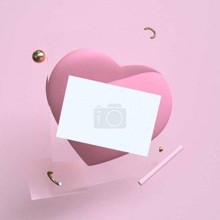 粉红色的极简主义几何抽象背景, 柔和的颜色, 三维渲染, 趋势海报, 插图。概念: 情人节, 爱, 火焰。-插图