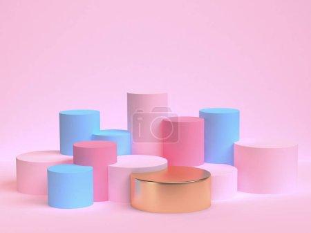 极简几何抽象背景, 柔和的颜色, 三维渲染, 趋势海报, 插图.