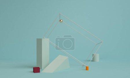 极简方几何抽象背景, 柔和的颜色, 三维渲染, 趋势海报, 插图.