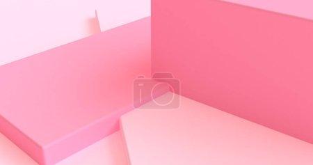 极简主义几何抽象背景,柔和色彩,3d re