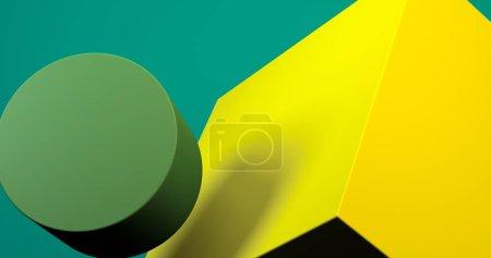 极简主义几何抽象背景,柔和颜色,3D渲染.