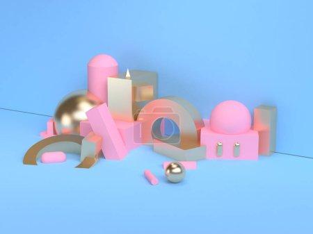 粉红色几何形状场景最小风格 3D 渲染.