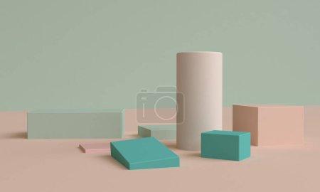 极简主义抽象背景,原始几何图形,p