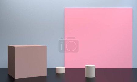 极简主义抽象背景、原始几何图形、柔和色彩、3D 渲染.