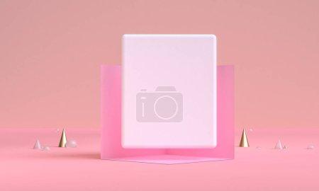 具有几何形状、最小背景、3D 渲染的场景