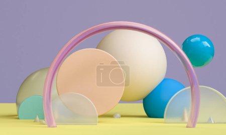 场景与几何形式,最小的抽象背景,3d re
