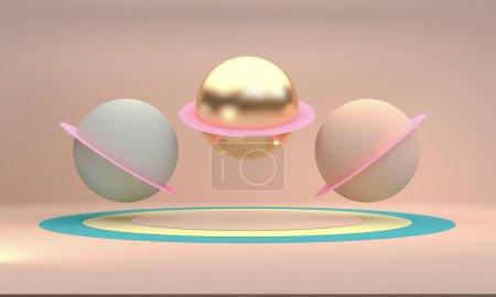 极简几何3D渲染展示背景